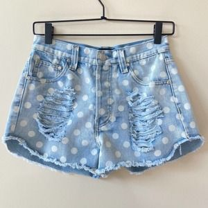MINKPINK High Waisted Polka Dot Cutoff Jean Shorts